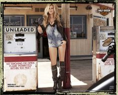 Photos and videos are from another 2010 Harley-Davidson ad campaign with supermodel Marisa Miller