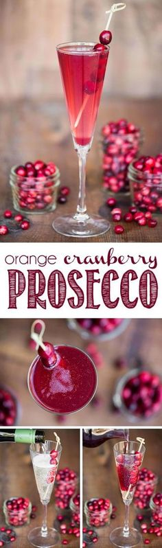 Orange Cranberry Prosecco is an easy single serving winter cocktail made from sweetened tart cranberry juice, orange liqueur, and Riondo Prosecco. #prosecco #cranberrycocktail #proseccococktail