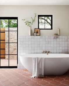 Home Renovation, Mudroom Cabinets, Hand Hewn Beams, Stone Accent Walls, Style Me Pretty Living, Terracotta Floor, Limestone Wall, Appartement Design, Travertine Floors