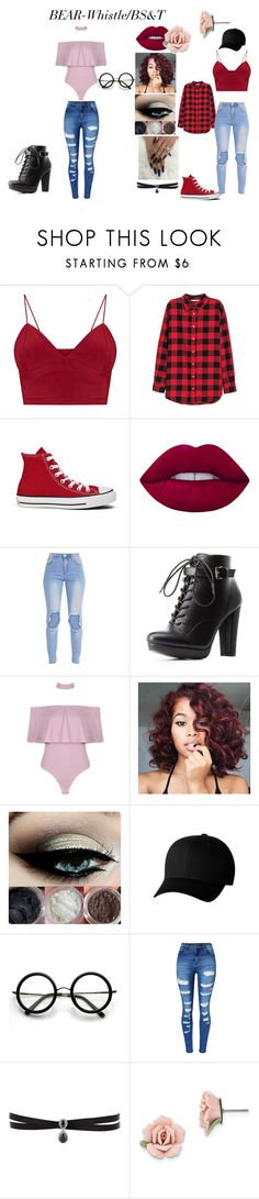 """""""BEAR-WHISTLE/BS&T 3/4 updated"""" by bunnymoods on Polyvore featuring H&M, Converse, Lime Crime, Charlotte Russe, Boohoo, Flexfit, ZeroUV, WithChic, Fallon and 1928"""
