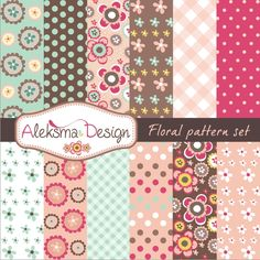 Set of 12 cute patterns. Great for scrapbooking, making cards, invitations, tags etc.  Format: 12 patterns in JPEG 300dpi.