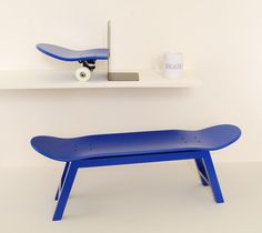 Skateboard furniture by skate-home. Stool, bookend, mug. Blue color