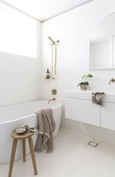 White and Gold bathroom colour scheme featuring Oasis Bath Concrete Bathtub, Concrete Basin, White Concrete, Polished Concrete, Bathroom Renos, White Bathroom, Remodel Bathroom, Bathroom Ideas, Bath Tube