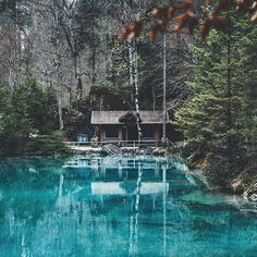 """artofvizuals: """" jannikobenhoff x Don't know why this lake is called blue lake… """" Beautiful Sites, Beautiful Places, Forest Cabin, Lake Forest, Nature Music, House By The Sea, Floating House, Small Places, Baghdad"""