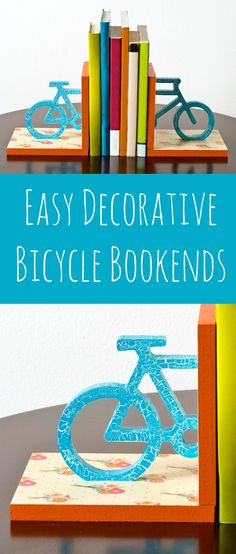 These bicycle themed DIY bookends are perfect for spring - add floral paper with decoupage medium and a crackle finish. So fun!