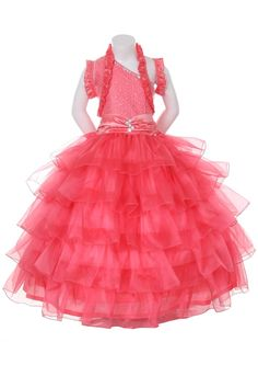 Coral Pageant Dress for Girls ages 2 - 16 - Ruffles and Shimmer Coral Flower Girl Dresses, Girls Pageant Dresses, Ruffles, Ball Gowns, Bodice, Ballet Skirt, Coat, Jasmine, Skirts