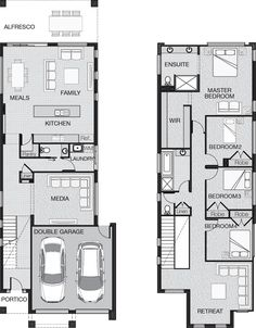 With multiple living areas and spacious bedrooms the Boston is the modern family home designed to fit stylishly on a narrow lot. Two Storey House Plans, Narrow Lot House Plans, Family House Plans, Modern House Plans, Duplex Floor Plans, House Floor Plans, Home Design Plans, Plan Design, Narrow House Designs