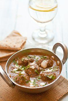 Lamb Kofta Curry- Made a vegetarian version using meatless meatballs from Trader Joe's. I used 2% milk instead of heavy cream.