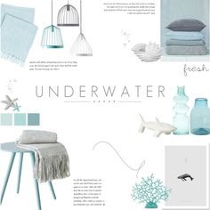 Underwater Design by c-silla on Polyvore featuring interior, interiors, interior design, home, home decor, interior decorating, fferrone design, Pine Cone Hill, Crate and Barrel and Privilege