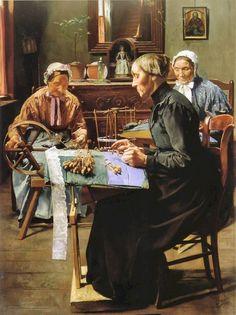 The Lace Maker. Victorian Paintings, Art Du Fil, Bobbin Lacemaking, Lace Art, Lace Painting, Lace Jewelry, Sewing Art, Lace Making, Antique Lace