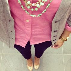 Preppy College Glam :: Pink button up, grey sweater, black ankle pants and nude shoes.