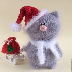 Купить Котик Новогодик. - серый, котенок, котик, новогодний котенок, вязаная игрушка, вязаный кот