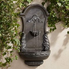 "Wall Fountain Outdoor manhasset 30 1/4"" high stone and blue outdoor wall fountain"