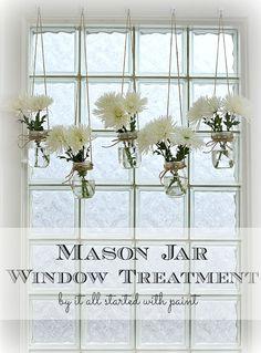 Mason Jar Window Treatment - Mason Jar Vases