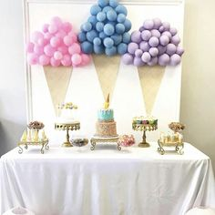 good ideas with to our Ice cream themed birthday party set up for a beautiful princess decoration and table set up by me Birthday Party Tables, 2nd Birthday Parties, Birthday Party Decorations, Party Themes, Ideas Party, Theme Parties, Birthday Ideas, Diy Birthday, Birthday Balloons