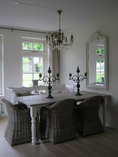 Space Saving Idea For Small Dining Room   Table Up Against The Wall With  Mirror Above