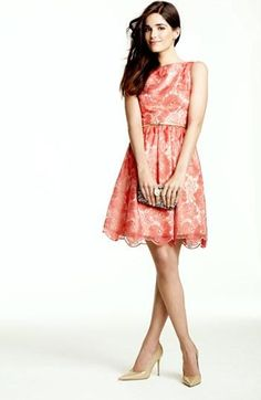 Coral lace! Eliza J fit and flare dress.