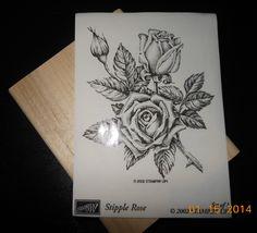 2002 STAMPIN' UP! Stipple Rose Stamp 4.5 x 3.5 Inch Rubber Block Stamp ~unassembled
