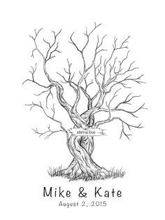 Canvas Wedding Tree Guest Book - Hand Drawn Fingerprint Tree Print - Digital template