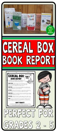 Reading Olympics -- The Projects Book reports - cereal box book report sample