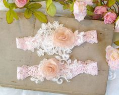 Light Pink Baby Pink White Lace Embroidery Flower by ChihiroBridal