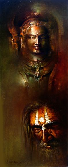 Amit Bhar, 1973 | Abstract Watercolor painter | Tutt'Art@ | Pittura * Scultura * Poesia * Musica | Buddha Painting, Krishna Painting, Buddha Art, Krishna Art, Famous Art Paintings, Indian Art Paintings, Mughal Paintings, Hindu Art, Artist Painting
