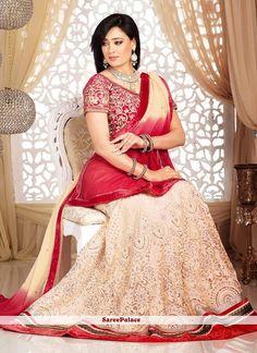 Shweta Tiwari Style Cream And Red Shaded Lehenga Choli