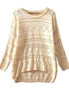 Amazing Details! Beige Geometric Irregular Loose Fit Acrylic Sweater  #Gorgeous #Sweater #Fashion