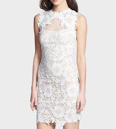 $209 Betsy Adam Sleeveless Illusion Crochet Lace Sheath Dress White Size 4 | eBay