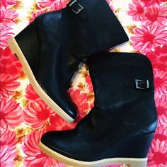 """J.Jill Black Leather Wedge Ankle Boots with Buckle Unworn black soft leather short boots with riding buckle at side, covered wedge heel, good grip to sole, pull on styling. You can fold over the top if you'd like. Fits like a 7.5-8 Heel is 3"""" with sole. A few slight compression marks from storage. J. Jill Shoes Ankle Boots & Booties"""