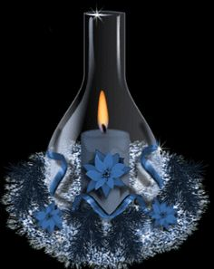Glitter Graphics: the community for graphics enthusiasts! Good Night Gif, Good Night Image, Blue Candles, Candle Lanterns, Christmas Candles, Blue Christmas, Merry Christmas, Beau Gif, Seasonal Image