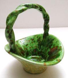 """Easter Springtime Holiday Green Ceramic Candy Egg 7"""" Display Basket Vintage #Unbranded"""