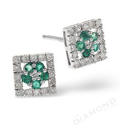 Emerald 7 x 7mm And Diamond 9K White Gold Earrings. #thediamondstoreuk #earrings #emerald #diamonds #may #birthstone