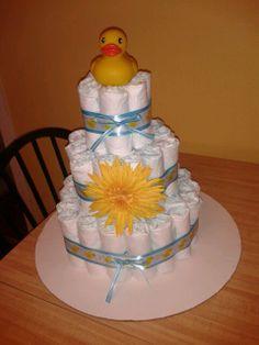 Rubber Duck diaper cake, boy diaper cake