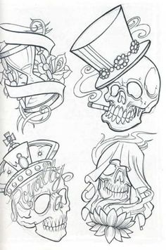 tattoo sketches | Skull tattoo flash for free, skull, tattoos, tattoo designs, tattoo ...