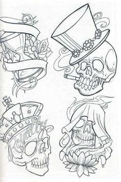 tattoo sketches   Skull tattoo flash for free, skull, tattoos, tattoo designs, tattoo ...