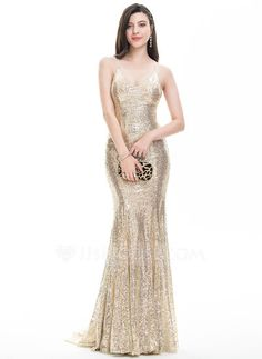 Trumpet/Mermaid V-neck Sweep Train Sequins Zipper Up Crossed Straps Spaghetti Straps Sleeveless No Champagne Spring Summer Fall General Plus Sequined Hight:5.7ft Bust:32in Waist:24in Hips:35in US 2 / UK 6 / EU 32 Prom Dress