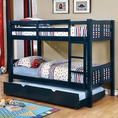 Harriet Bee Victory Twin Over Twin Bunk Bed with Trundle Bed Frame Color: Blue Bunk Bed Sets, Bunk Bed With Trundle, Full Bunk Beds, Bunk Beds With Stairs, Kids Bunk Beds, Staircase Bunk Bed, Solid Wood Bunk Beds, Bunk Bed Designs, Murphy Bed Plans