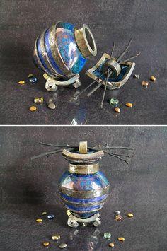 raku blue Urn ceramic urn cremation urn keepsake urn for