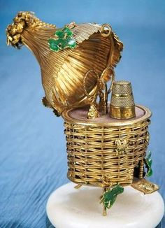 French Napoleon III Gilt Sewing Necessaire in the Shape of a Beehive.
