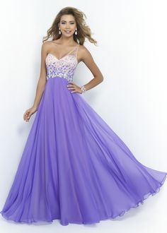 Blush 9965 - Violet Beaded One Shoulder Prom Dress - RissyRoos.com