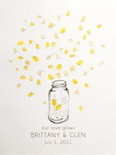 Medium mason jar with fireflies, Guest book fingerprint alternative (with 1 ink pad)., via Etsy.