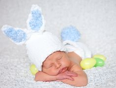 Knitted baby bunny rabbit hat and diaper cover set white blue pink 3 to 6 months Baby Easter Set Ava Girl Designs. 55.00, via Etsy.