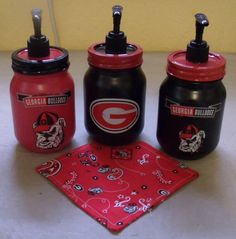 Love love Georgia Bulldogs Football, Georgia Girls, Ball Mason Jars, University Of Georgia, Mason Jar Crafts, Making Ideas, Just For You, Uga Housing, Soap Dispensers