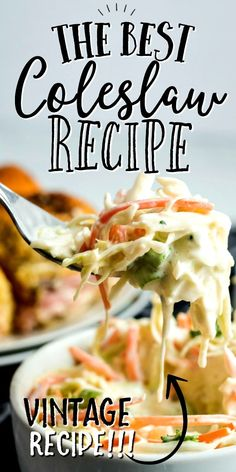 You'll often find signature creamy coleslaw recipes at places like Chick-fil-a, KFC, and Jamie Oliver. For good reason: all generations enjoy the sweet-sour taste and it pairs well with anything you serve it with. Baked Chicken Recipes, Veggie Recipes, Gourmet Recipes, New Recipes, Salad Recipes, Coleslaw Recipes, Cooking Recipes, Favorite Recipes, Healthy Recipes