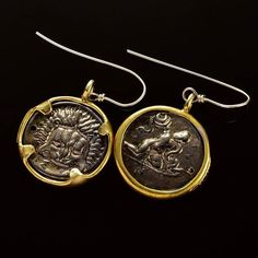 These awesome reproduction coin earrings show a ferocious lion on front side and the great hero Hercules fighting the hydra on the back. Gold and rhodium plating make these earrings really stand out and give them a modern look. Handmade with passion.  #ancient#history #historic#natgeo#lion #archaeology #lovegold#handmade #supporthandmade #coins#handmadejewelry #handmadejewellery#earrings#silver #laart#sophisticated #designporn #oneofakind#silversmith #goldsmith#jewelrydesign…