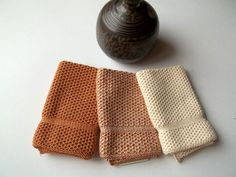 Dish Cloths Knit in Cotton in Calfskin and Off by TheNeedleHouse, $12.00