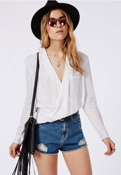 Wrap Over Blouse White - Tops - Shirts & Blouses - Missguided