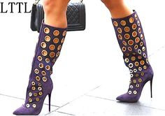 91.33$  Watch here - http://alijsv.worldwells.pw/go.php?t=32784549273 - LTTL Sexy Winter Women Knee High Boots Cut-outs Polka Dot Boots Pointed Toe High Heel Women Suede Shoes Fashion Gold Holes Boots 91.33$