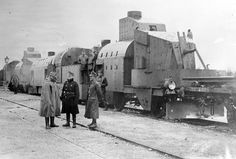 An Austrian armored train in Galicia, ca, 1915. Adding armor to trains dates back to the American Civil War, used as a way to safely move we...